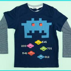 NOUA, DE FIRMA→ Bluza cu efect tricou, bumbac H&M→ baieti   4—6 ani   110—116 cm, Alta, Bleumarin