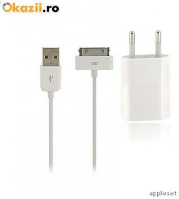 Incarcator iPhone 4 4S + cablu USB White foto