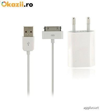 Incarcator iPhone 4 4S + cablu USB White