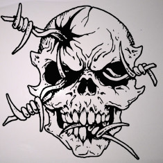 Skull_Stickere Diverse_Perete_Auto_DIV-071-Dimensiune: 35 cm. X 35 cm. - Orice culoare, Orice dimensiune