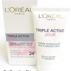 Cremă de față L'Oreal Dermo Expertise Triple Active Day Dry / Sensitive Skin - Crema de fata L'oreal Paris, Sensibil