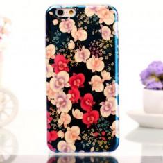Husa florala din soft silicon si folie de sticla Tempered Glass pentru iphone 6 simplu - Husa Telefon Apple, iPhone 6/6S, Albastru