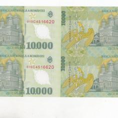 bnk sc  10000 lei 2000 Isarescu - coala de 4 ,  certificat de autenticitate