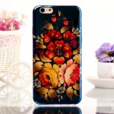 Husa florala sin silicon si folie de sticla Tempered Glass pentru iphone 6 Plus 5.5 inch - Husa Telefon Apple, Albastru