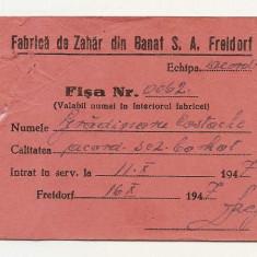 Cartonas Fisa Fabrica de Zahar din Banat S. A. Freidorf (1947) - Diploma/Certificat