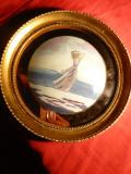 Tablou - Pictura pe sticla ,rama rotunda ,D= 20,5 cm, D.pictura ,concav= 12,5 cm