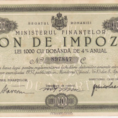 Bnk sc Bon de impozit - Ministerul Finantelor 1932 - 1000 lei - Cambie si Cec