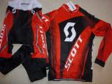 Echipament ciclism SCOTT rosu complet iarna toamna set NOU bluza pantaloni, Tricouri