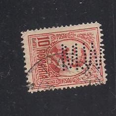 No(08)timbre-Romania 1908-L.P.66- Carol I gravate -PERFIN M W.-10 bani, Stampilat