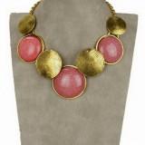 COLIER vintage auriu statement imens pandantive rotunde pietre rosii roz 3-4cm, tip zara, nou - ideal cadou onomastica, Craciun -COMANDA MINIM 40 LEI