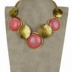 COLIER vintage auriu statement imens pandantive rotunde pietre rosii roz 3-4cm, tip zara, nou - ideal cadou onomastica, Craciun -COMANDA MINIM 40 LEI - Colier fashion Bvlgari