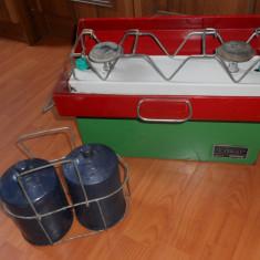 Resou Portativ cu gaze tip TURIST, Intreprinderea de reparatii utilaj Minier Tg. Jiu.Anul 1985. Cu 2 ochiuri si 2 butelii GPL (camping, munte)