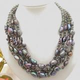 Colier in 5 siraguri din perle de cultura negre si smoky quartz - Colier perle