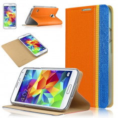 Husa Galaxy S5 NEO S5 Samsung stand folie protectie display cadou - Husa Telefon, Samsung Galaxy S5, Portocaliu, Piele Ecologica, Cu clapeta