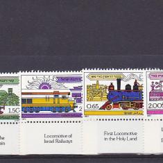 Trenuri, locomotive, Israel cu TAPS. - Timbre straine