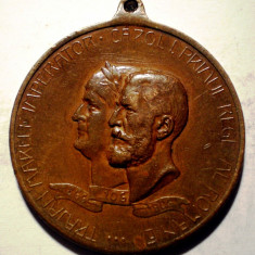 5.380 MEDALIE ROMANIA TRAIAN CAROL I EXPOZITIUNEA GENERALA ROMANA BUCURESTI 1906 50mm - Medalii Romania