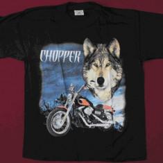 Tricou Chopper cu lup, marimi de adulti si de copii, inclusiv XXXL, Marime: S, M, L, Culoare: Negru