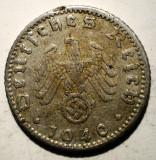 B.451 GERMANIA WWII AL III-LEA REICH 50 REICHSPFENNIG 1940 D, Europa, Aluminiu