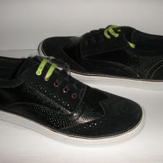 Tenisi barbat TED BAKER originali noi piele +piele intoarsa negru Sz 42 ! - Pantofi barbat Ted Baker, Piele naturala, Casual