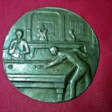 Veche Placheta vintage din bronz cu tema,, Biliard,, de colectie pt decor