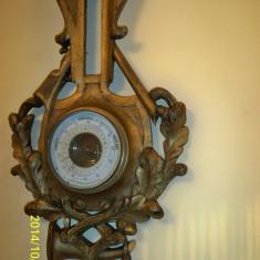 Barometru sculptat lemn masiv Franta