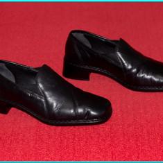 DE FIRMA → Pantofi / botine dama, piele, calitate extra, RIEKER → femei | nr. 36 - Pantof dama Rieker, Culoare: Negru, Piele naturala, Cu talpa joasa