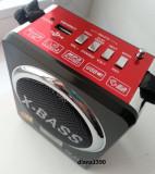 Radio Boxa Portabila MP3 USB si card SD Rosie