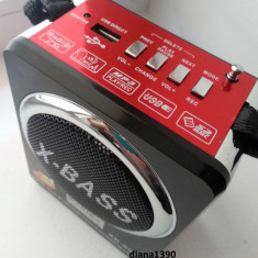 Radio Boxa Portabila MP3 USB si card SD Rosie - Aparat radio