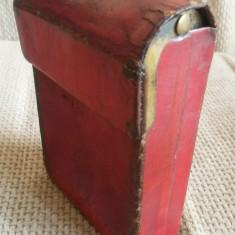 Tabachera / suport pachet de tigari din piele, de colectie din perioada interbelica. - Tabachera veche