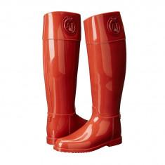 Boots femei Armani Jeans RJ Rain Boot With Crystal | 100% originals | Livrare cca 10 zile lucratoare | Aducem pe comanda orice produs din SUA - Cizma dama Armani, Rosu