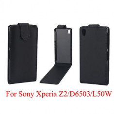 Toc piele husa neagra flip Sony Xperia Z2 + folie protectie ecran + expediere gratuita Posta