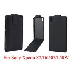 Toc piele husa neagra flip Sony Xperia Z2 + folie protectie ecran + expediere gratuita Posta - Husa Telefon Sony, Negru, Piele Ecologica