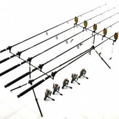 5 LANSETE/LANSETA 2, 7M CU MULINETE MELALUKA 4 RULMENTI SI RODPOD ECHIPAT - Set pescuit