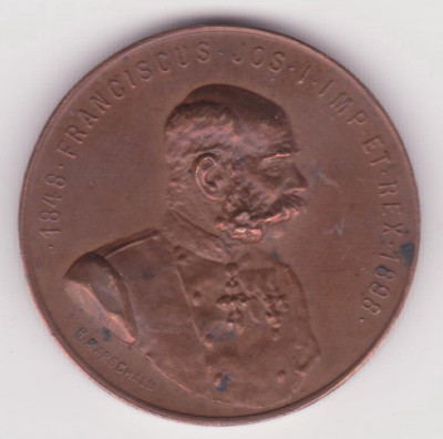 MEDALIE AUSTRO-UNGARIA JUBILIARA DIN 1898 - VIVAT IMPERATOR, FRANZ JOSEF, GRAVOR MARSCHALL foto