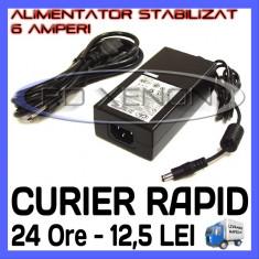 SURSA ALIMENTARE - ALIMENTATOR STABILIZAT 12V - 6 A AMPERI - PENTRU BANDA LED RGB 300 SMD - CABLU 220V INCLUS - Cablu si prelungitor ZDM