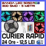 ROLA BANDA 300 LED - LEDURI SMD 5050 RGB - 5 METRI, IMPERMEABILA (WATERPROOF), FLEXIBILA - CONTROLER SI TELECOMANDA INCLUSE - Banda LED ZDM