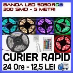 ROLA BANDA 300 LED - LEDURI SMD 5050 RGB - 5 METRI, IMPERMEABILA (WATERPROOF), FLEXIBILA - CONTROLER SI TELECOMANDA INCLUSE