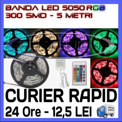 ROLA BANDA 300 LED - LEDURI SMD 5050 RGB - 5 METRI, IMPERMEABILA (WATERPROOF), FLEXIBILA - CONTROLER SI TELECOMANDA INCLUSE foto
