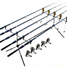 5 LANSETE/LANSETA BLACK 3m CU MULINETE Mifine 4 RULMENTI, RODPOD FULL ECHIPAT - Set pescuit