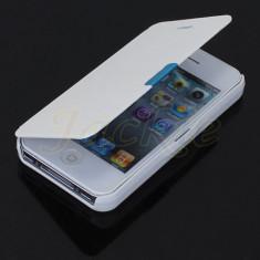 Husa Carcasa Flip Style Piele Alba Iphone 4 si 4S