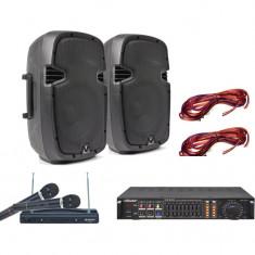 SISTEM COMPLET KARAOKE COMPUS DIN 2 BOXE, STATIE CU MP3 USB, CABLURI SI 2 MICROFOANE WIRELESS BONUS! - Echipament karaoke