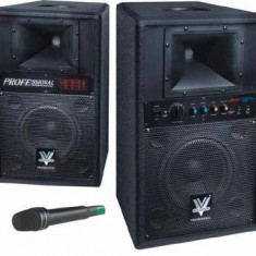 MEGA SISTEM 2 BOXE ACTIVE/AMPLIFICATE 400WATT,CU MP3 PLAYER USB,AFISAJ LCD SI MICROFON WIRELESS INCLUS.