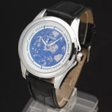 Ceas WINNER 2014 Skeleton Automatic / Manual , Curea Piele  - CULOARE ALB + ARGINTIU, Fashion, Mecanic-Manual