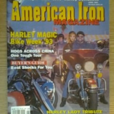 Revista  AMERICAN IRON MAGAZINE (for people who love Harley Davidsons)  - june 1993