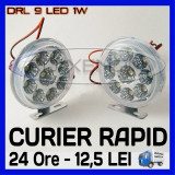 DRL 9-LED 1W - ROTUND DIAMETRU 86mm - DAYTIME RUNNING LIGHT - LUMINI DE ZI, Universal, ZDM