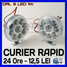 DRL 9-LED 1W - ROTUND DIAMETRU 86mm - DAYTIME RUNNING LIGHT - LUMINI DE ZI
