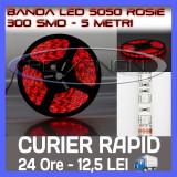 ROLA BANDA 300 LED - LEDURI SMD 5050 ROSU (ROSIE, ROSI) - 5 METRI, IMPERMEABILA (WATERPROOF), FLEXIBILA