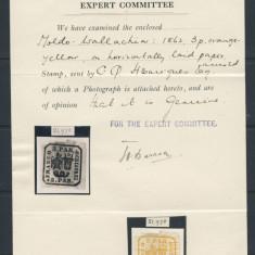 ROMANIA PRINCIPATELE UNITE 3 PARALE - 1862 ; EXPERTIZAT SOCIETATEA FILATELICA REGALA LONDRA 1939 ; GUMA