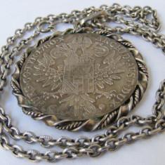 Lant vechi din argint cu medalion taler Maria Tereza - de colectie - Lantisor argint