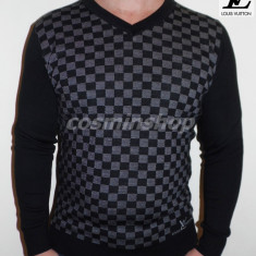 Pulovere LOUIS VUITTON - Model NOU de Sezon 2015 - Gri / Visiniu / Maro !!! - Pulover barbati, Marime: XXL, Anchior, Bumbac